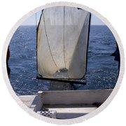 Trawling For Marine Life Round Beach Towel