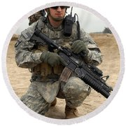 U.s. Army Sergeant Provides Security Round Beach Towel