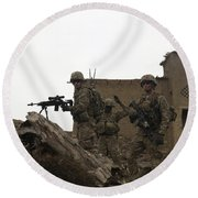 U.s. Army Soldiers Provide Security Round Beach Towel
