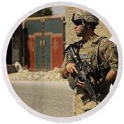 U.s. Army Specialist Provides Security Round Beach Towel