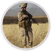 U.s. Marine Patrols A Wadi Near Kunduz Round Beach Towel