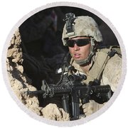 U.s. Marine Provides Security Round Beach Towel
