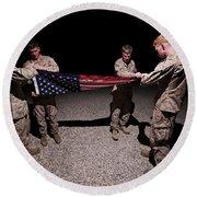 U.s. Marines Fold The American Flag Round Beach Towel
