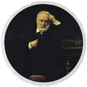 Victor Hugo, French Author Round Beach Towel by Photo Researchers