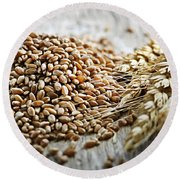 Wheat Ears And Grain Round Beach Towel