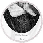 William Harvey, English Physician Round Beach Towel