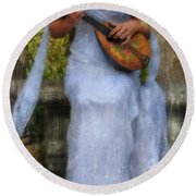 Young Woman As A Classical Woman Of Ancient Egypt Rome Or Greece Round Beach Towel