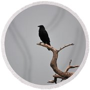 30- Black Crow Round Beach Towel