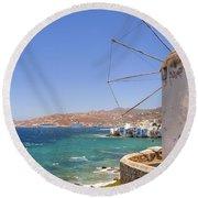 Mykonos Round Beach Towel by Joana Kruse