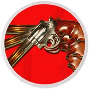 357 Magnum - Painterly - Red Round Beach Towel