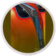 39 Ford Deluxe Hot Rod Hood Ornament  Round Beach Towel