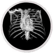3d Cta Of Heart And Chest Round Beach Towel by Medical Body Scans