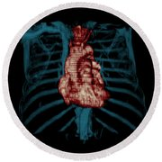 3d Ct Reconstruction Of Heart Round Beach Towel