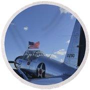 A Bt-13 Valiant Trainer Aircraft Round Beach Towel