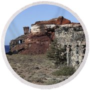 Abandoned Manganese Mine At Cape Vani Round Beach Towel