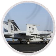 An Fa-18e Super Hornet During Flight Round Beach Towel