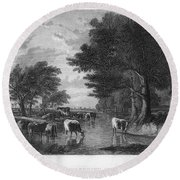 Cattle, 19th Century Round Beach Towel