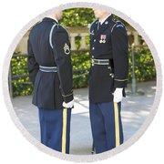 Changing Of Guard At Arlington National Round Beach Towel