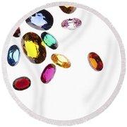 Colorful Gems Round Beach Towel
