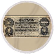 Confederate Banknote Round Beach Towel