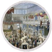 Crystal Palace, 1851 Round Beach Towel