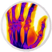 Finger Fracture Round Beach Towel