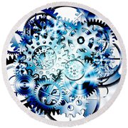 Gears Wheels Design  Round Beach Towel by Setsiri Silapasuwanchai