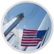 Ground Zero Freedom Tower Round Beach Towel
