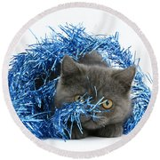 Kitten With Tinsel Round Beach Towel