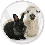 Lamb And Rabbit Round Beach Towel