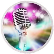 Microphone On Stage Round Beach Towel by Setsiri Silapasuwanchai