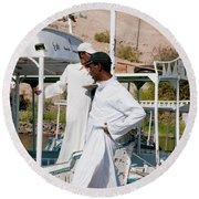 Nubians Nile Philae Round Beach Towel