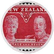 old New Zealand postage stamp Round Beach Towel
