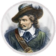 Oliver Cromwell (1599-1658) Round Beach Towel