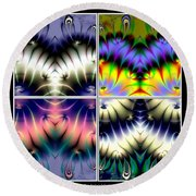 4 Panel Look Hearts Ud Fractal 64 Round Beach Towel