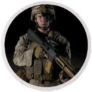 Portrait Of A U.s. Marine Wearing Night Round Beach Towel