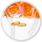 4 Red Yellow Roses And Wedding Rings Over White Round Beach Towel