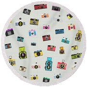 Retro Camera Pattern Round Beach Towel
