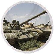 Russian T-54 And T-55 Main Battle Tanks Round Beach Towel