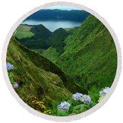 Sete Cidades - Azores Round Beach Towel