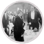 Silent Film: Restaurant Round Beach Towel