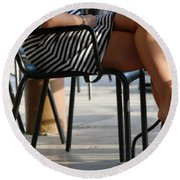 Stripped Dress Round Beach Towel