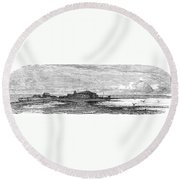 Suez Canal Construction Round Beach Towel
