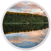 Sunrise Above A Lake On A Wind Still Morning Round Beach Towel