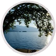 Sunshine Over An Alpine Lake Round Beach Towel