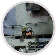Tank Driver Of A Leopard 1a5 Mbt Round Beach Towel
