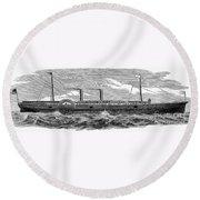 4 Wheel Steamship, 1867 Round Beach Towel