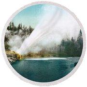 Yellowstone Park: Geyser Round Beach Towel