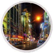 42nd Street Nyc 3.0 Round Beach Towel