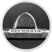 49 Plymouth Emblem Round Beach Towel